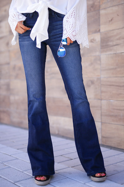 KAN CAN Bootcut Jeans - Charlotte Wash solid bootcut jeans, Closet Candy Boutique 1
