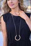 Awestruck Necklace - Gold crescent necklace, front, Closet Candy Boutique