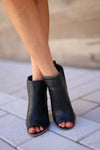Western Wind Booties - Black peep-toe v-slit booties, front, Closet Candy Boutique