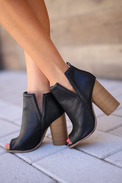 Western Wind Booties - Black peep-toe v-slit booties, side, Closet Candy Boutique