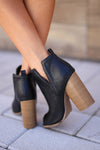 Western Wind Booties - Black peep-toe v-slit booties, back, Closet Candy Boutique