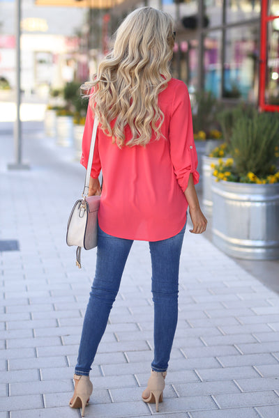 Desk to Dawn Top - Coral v-split top, back, Closet Candy Boutique 3