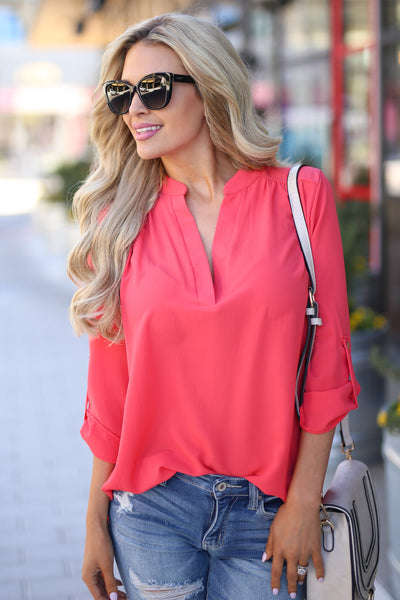 Desk to Dawn Top - Coral v-split top, front, Closet Candy Boutique 4
