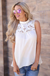 Sweet Time Top - Cream sleeveless lace yoke top, cute outfit, front, Closet Candy Boutique