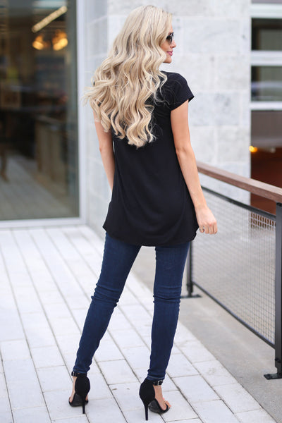 Take A Look Top - Black asymmetrical hem top, back, Closet Candy Boutique