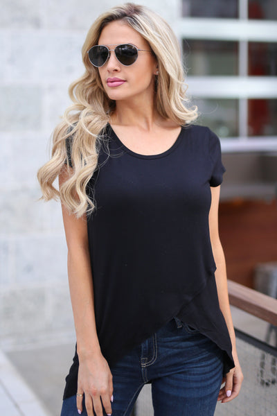 Take A Look Top - Black asymmetrical hem top, front, Closet Candy Boutique
