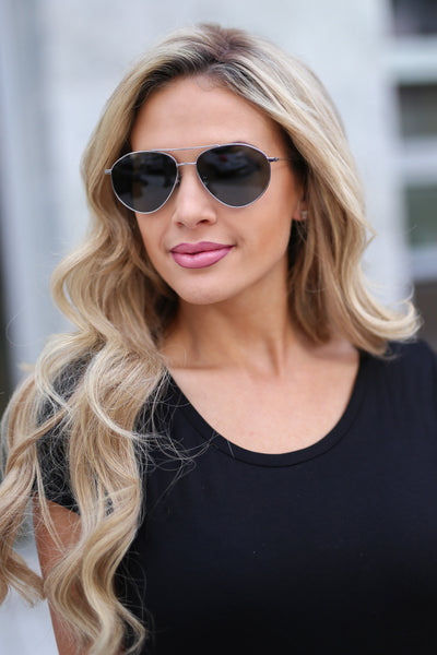 DIFF Eyewear Scout Aviators - Gunmetal aviator sunglasses, front, Closet Candy Boutique