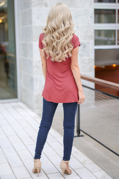 Take A Look Top - Brick asymmetrical hem top, back, Closet Candy Boutique