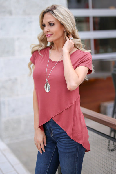 Take A Look Top - Brick asymmetrical hem top, side, Closet Candy Boutique