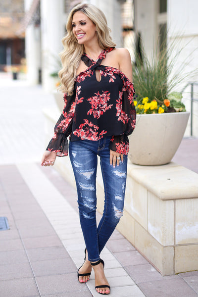 Here For The Comments Top - Black open shoulder floral print top with criss cross neckline, outfit, Closet Candy Boutique