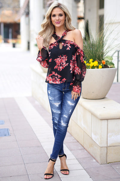 Here For The Comments Top - Black open shoulder floral print top with criss cross neckline, front, Closet Candy Boutique