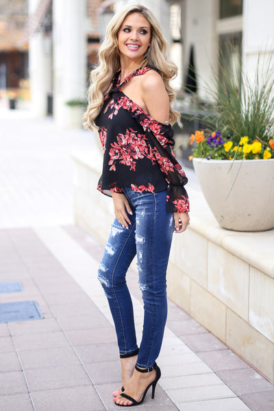 Here For The Comments Top - Black open shoulder floral print top with criss cross neckline, side, Closet Candy Boutique