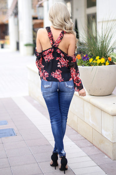 Here For The Comments Top - Black open shoulder floral print top with criss cross neckline, back, Closet Candy Boutique