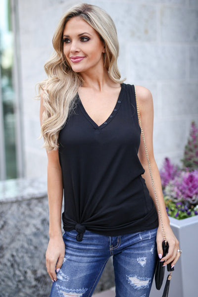 Push My Buttons Ribbed Tank - Black v-neck tank top, front, Closet Candy Boutique
