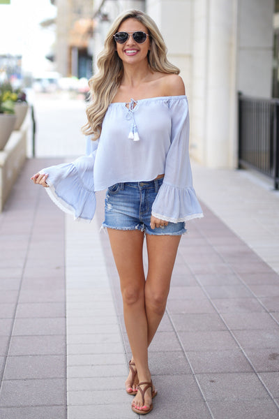 Tell Me About It Top - Light Blue off the shoulder top with bell sleeves, cute outfit, Closet Candy Boutique