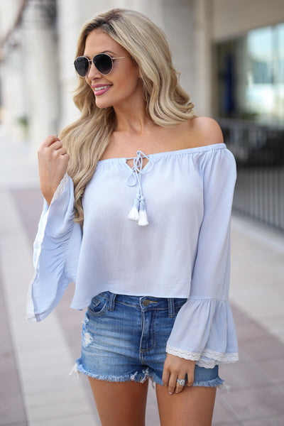 Tell Me About It Top - Light Blue off the shoulder top with bell sleeves, front, Closet Candy Boutique