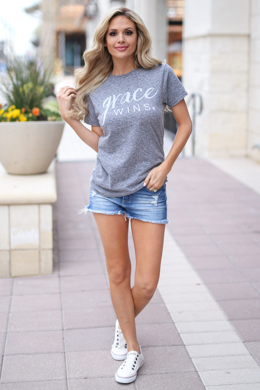"""Grace Wins"" Tee - Heather Grey short sleeve faith tee, front, Closet Candy Boutique"