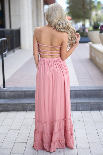 Golden Hour Maxi Dress - Blush smocked maxi dress with open back, back, Closet Candy Boutique