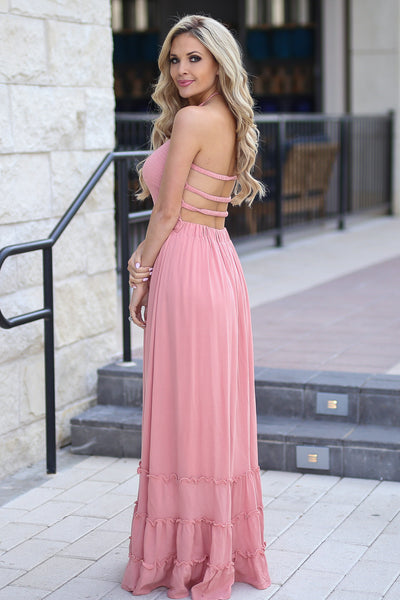 Golden Hour Maxi Dress - Blush smocked maxi dress with open back, side, Closet Candy Boutique