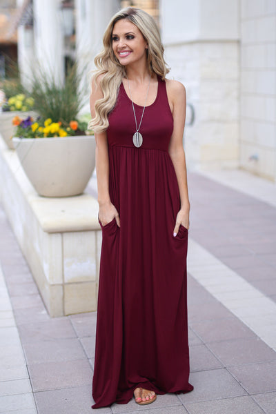 Caught You Staring Maxi Dress - Wine racerback maxi dress, cute outfit, Closet Candy Boutique