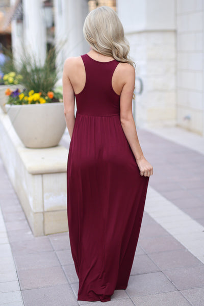 Caught You Staring Maxi Dress - Wine racerback maxi dress, back, Closet Candy Boutique