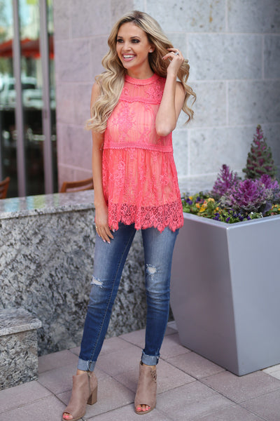 Bright Lights In The City Top - Coral lace high neckline top, cute outfit, Closet Candy Boutique