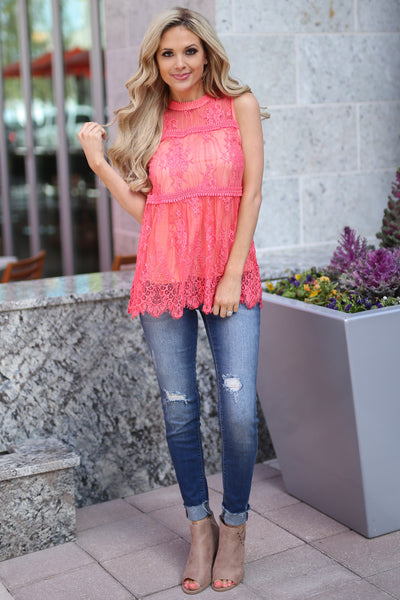 Bright Lights In The City Top - Coral lace high neckline top, front, Closet Candy Boutique