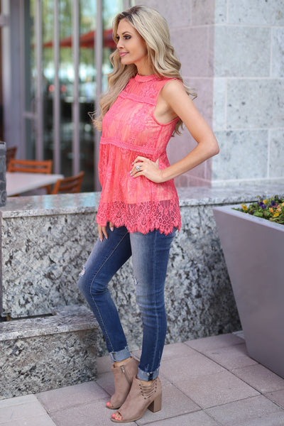 Bright Lights In The City Top - Coral lace high neckline top, side, Closet Candy Boutique