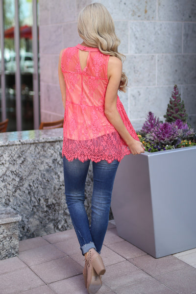 Bright Lights In The City Top - Coral lace high neckline top, back, Closet Candy Boutique