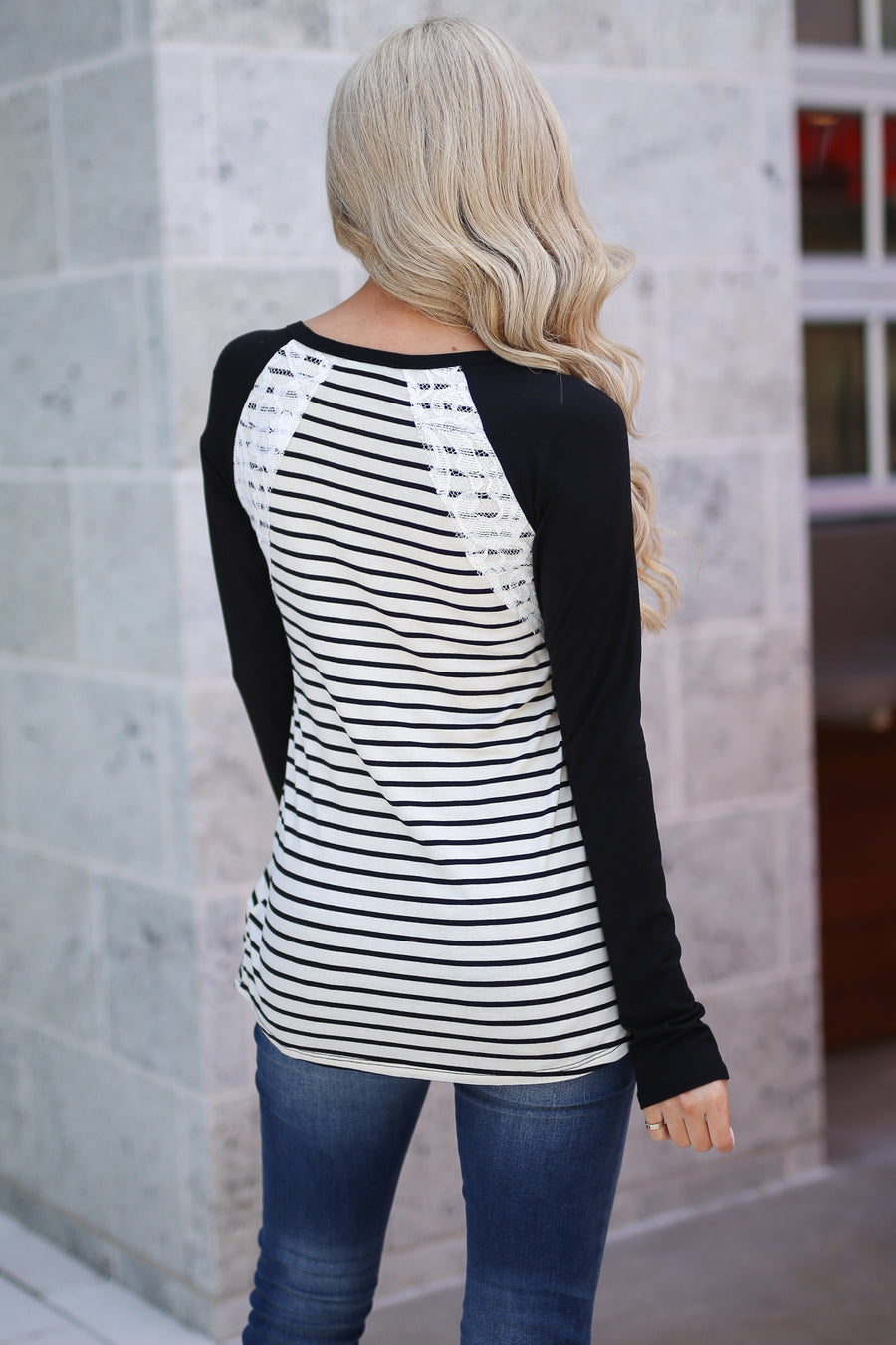Secret To Keep Top - Black and ivory stripe, long sleeve top with lace trim, Closet Candy Boutique 1