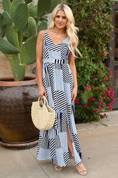 When In Doubt Maxi Dress - Navy women's striped long dress, Closet Candy Boutique 1