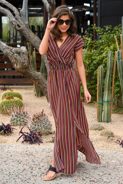 Bohemian Sweetheart Maxi Dress - Multicolor women's striped short sleeve long dress, Closet Candy Boutique 3