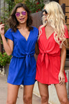 Squad Goals Romper - Royal Blue women's v-neck tie-front romper, Closet Candy Boutique 2