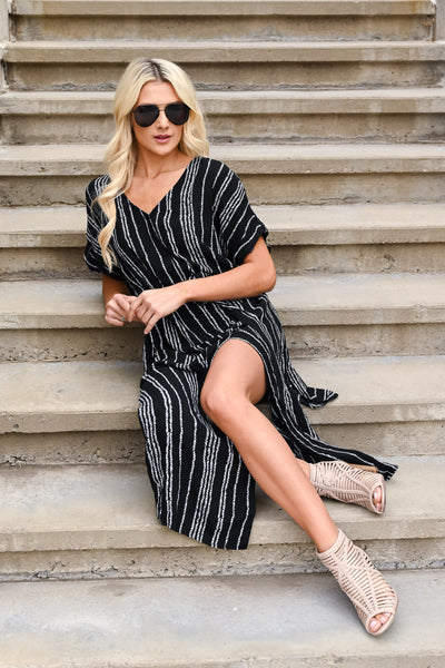 The City Is Ours Maxi Dress - Black women's long relaxed stripe patterned dress, Closet Candy Boutique 1