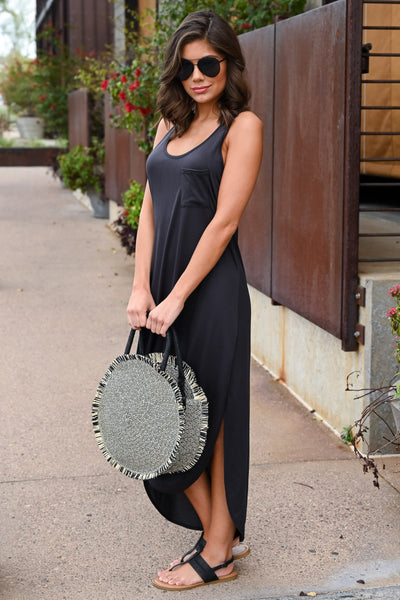 Marcella Straw Bag - Black & Natural women's round, frayed straw purse, Closet Candy Boutique 2