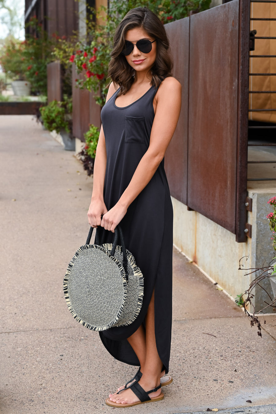 Marcella Straw Bag - Black & Natural women's round, frayed straw purse, Closet Candy Boutique 1