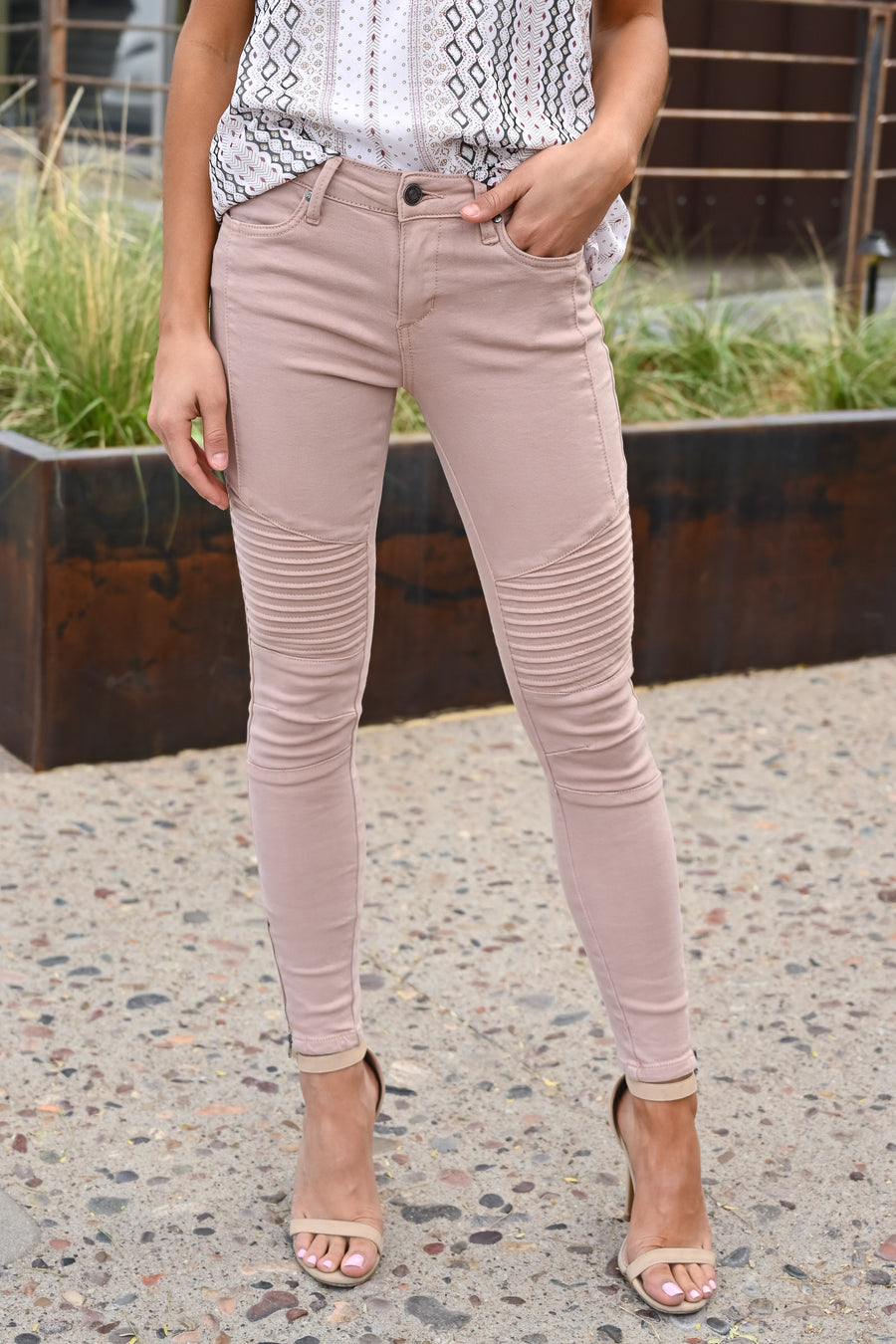 Miss Independent Moto Skinny Jeans - Dusty Rose women's textured jeans, Closet Candy Boutique 1