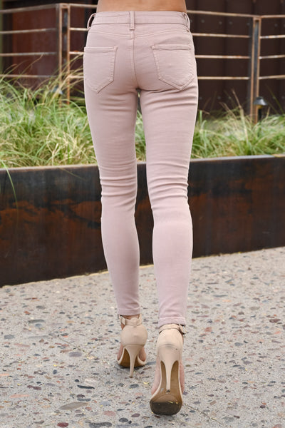 Miss Independent Moto Skinny Jeans - Dusty Rose women's textured jeans, Closet Candy Boutique 4