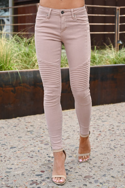 Miss Independent Moto Skinny Jeans - Dusty Rose women's textured jeans, Closet Candy Boutique 5