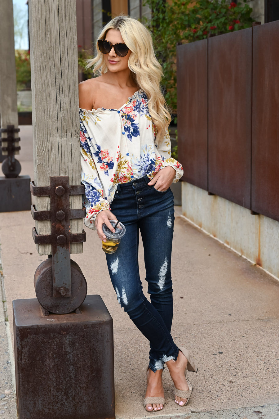 New Destinations Floral Top - Ivory women's colorful floral print blouse, Closet Candy Boutique 1