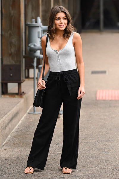 Melrose Ave Palazzo Pants - Black women's high-waisted, wide leg pants, Closet Candy Boutique 2