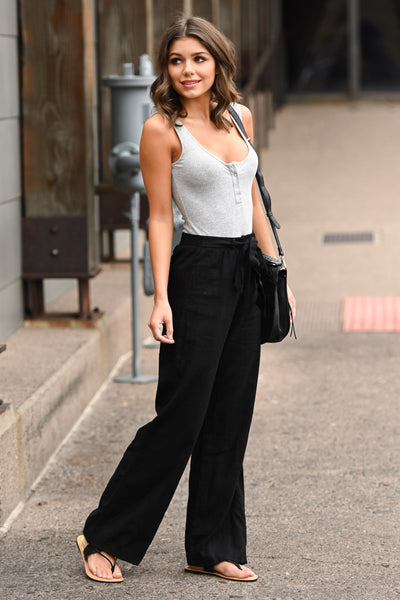 Melrose Ave Palazzo Pants - Black women's high-waisted, wide leg pants, Closet Candy Boutique 4