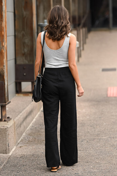 Melrose Ave Palazzo Pants - Black women's high-waisted, wide leg pants, Closet Candy Boutique 3