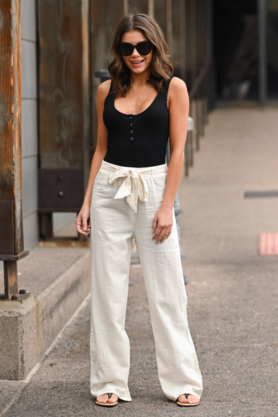 Melrose Ave Palazzo Pants - Natural women's high-waisted, wide leg pants, Closet Candy Boutique 1