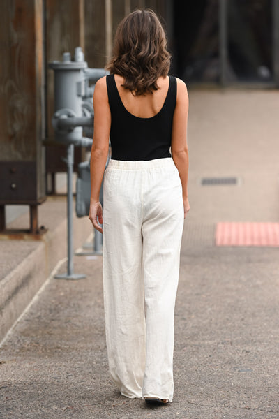 Melrose Ave Palazzo Pants - Natural women's high-waisted, wide leg pants, Closet Candy Boutique 4