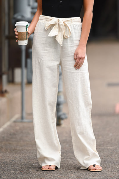 Melrose Ave Palazzo Pants - Natural women's high-waisted, wide leg pants, Closet Candy Boutique 2