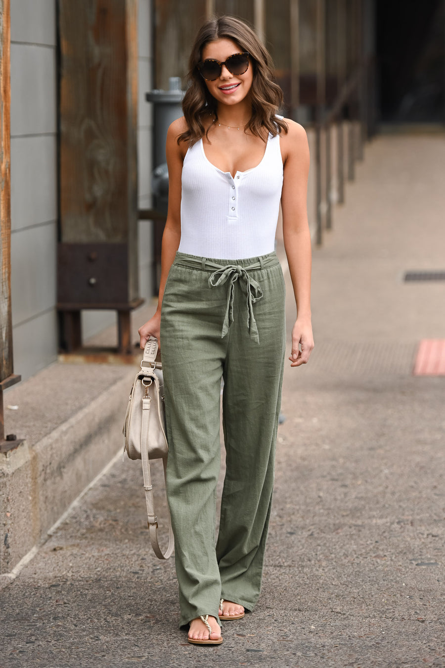 Melrose Ave Palazzo Pants - Olive women's high-waisted, wide leg pants, Closet Candy Boutique 1