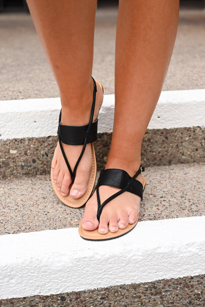 Aria Band Sandals - Black women's flat sandals, Closet Candy Boutique 1