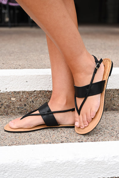 Aria Band Sandals - Black women's flat sandals, Closet Candy Boutique 2