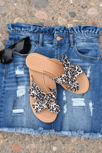 Ariana Leopard Slides women's sandals with bow detail, Closet Candy Boutique 1